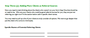 Referral source workbook - step 3A